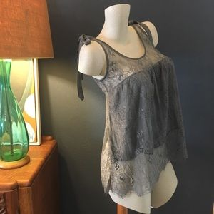 NWT Lace Bow Tank Grey